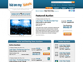 Bid On My Tickets website design by dzine it