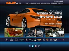 Malibu Auto website design by dzine it