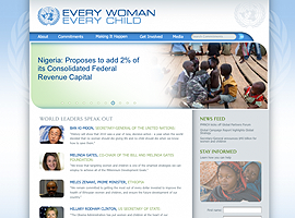 Every Woman Every Child website design by dzine it