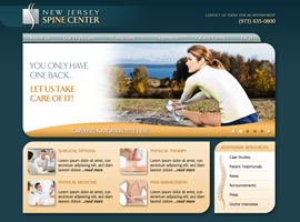 New Jersey Spine Center website design by dzine it