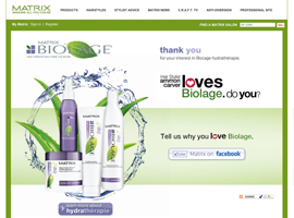 Matrix Biolage Hydratherapy website design by dzine it