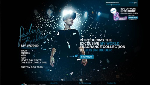 justin bieber website development